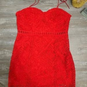 Red Forever21 Lace Above-Knee Dress